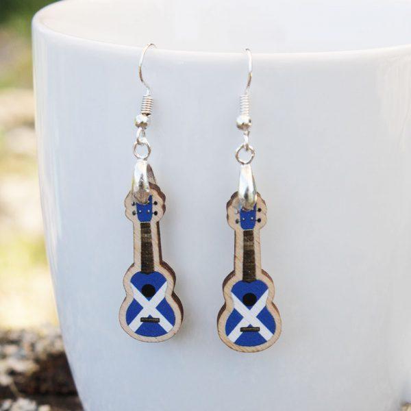 Saltire Scottish Wood Ukulele Drop Earrings