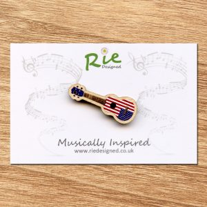 Stars & Stripes Wooden Ukulele Brooch