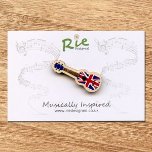 Union Jack Wooden Ukulele Brooch