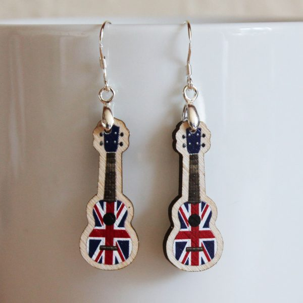 union jack ukulele earrings