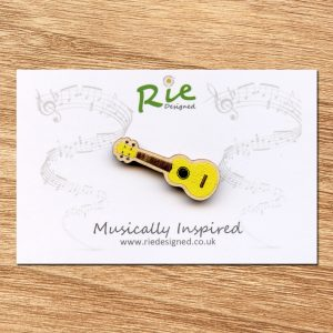Yellow Wooden Ukulele Brooch