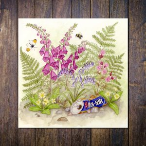 Scottish Hedgerow Blank Square Greetings Card
