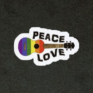 Peace Love Ukulele Sticker