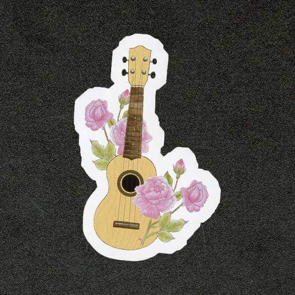 Rose Floral Ukulele Sticker