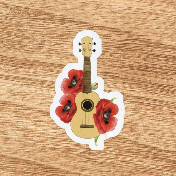 Poppy Floral Ukulele Sticker