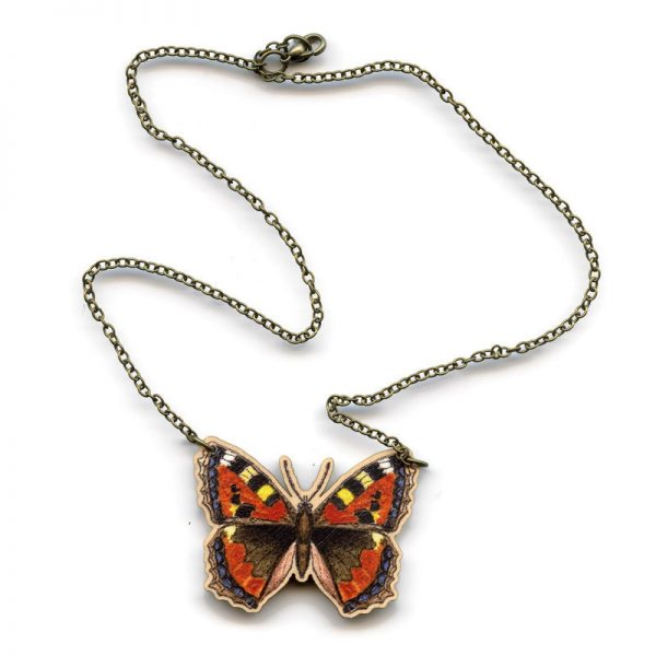 small tortoiseshell butterfly necklace