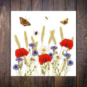 cornfield wild flowers greetings card