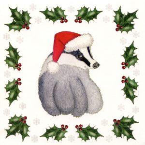 Santa badger Christmas card