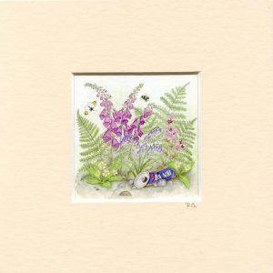 Scottish Hedgerow Mounted Mini Giclée Print