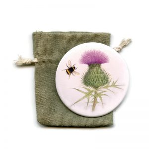 Scottish Thistle and Bumblebee Pocket Mirror