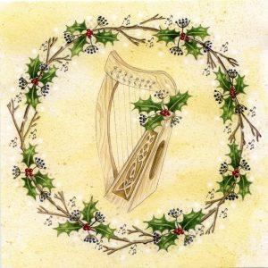 Celtic harp christmas card