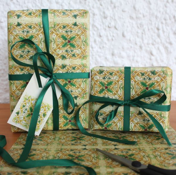 celtic knot Christmas gift wrap