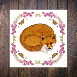 fox and foxgloves greetings card