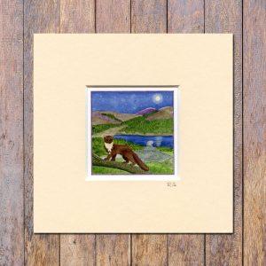 Pine Marten Glentrool Mounted Mini Giclée Print