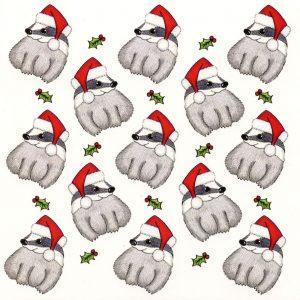 Santa badgers Christmas card