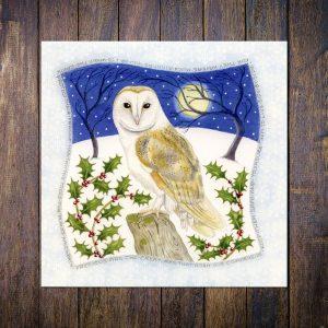 Snowy Barn Owl Christmas Card