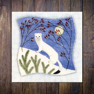 Stoat in Ermine Christmas card