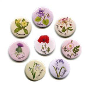 British Wild Flowers Button Magnets